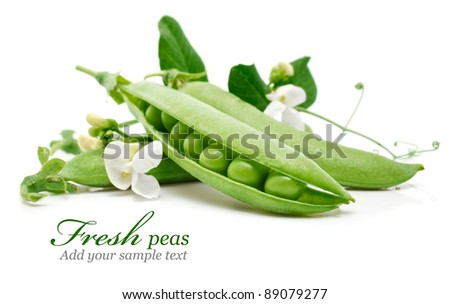 fresh green pea  in the pod with flowers isolated on white background