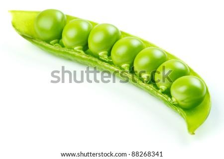Fresh green pea pod isolated on white background - stock photo