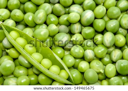 Fresh green pea pod on peas background - directly above shot  - stock photo