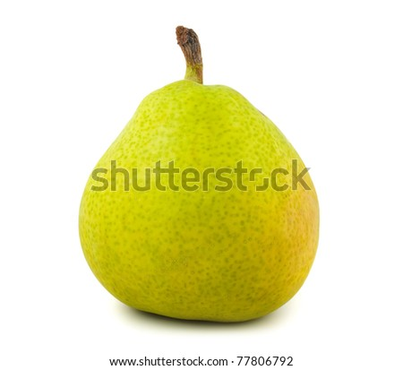 Fresh green pear isolated on white background - stock photo