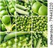 Fresh green peas collage - stock photo