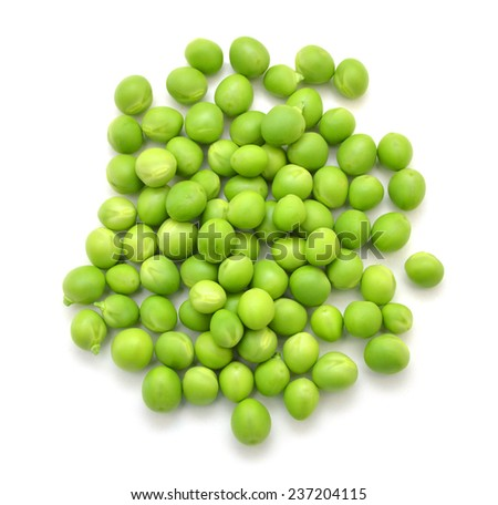 fresh green peas isolated on a white background. - stock photo