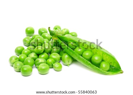 fresh green peas isolated on white