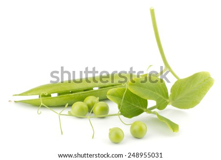 Fresh green peas with leaves isolated on white background - stock photo