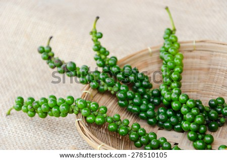 Fresh green pepper in weave basket on sack background. - stock photo