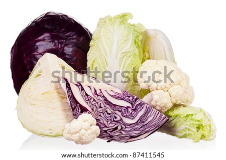 Fresh green, red, cauliflower and Chinese cabbage vegetables on white background - stock photo