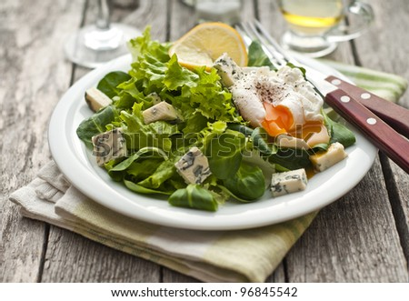 Fresh green salad with baby spinach, lettuce, blue cheese and poached egg - stock photo