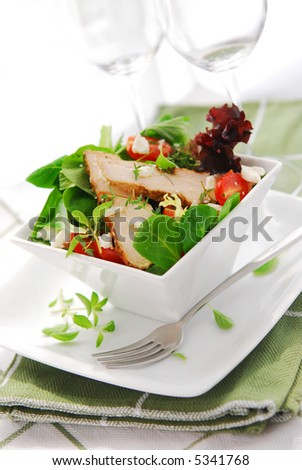 Fresh green salad with grilled chicken herbs and tomatoes - stock photo