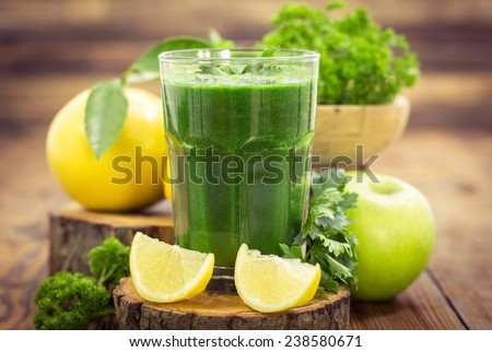 Fresh green smoothie  - stock photo