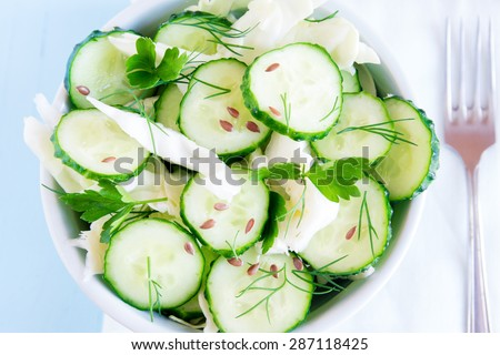 Fresh green vegetable salad with cucumber, cabbage, herbs and flax seeds close up top view - stock photo