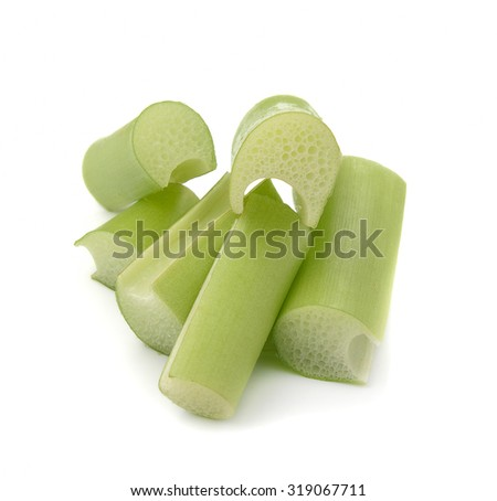 Fresh green vegetables on a white background.
