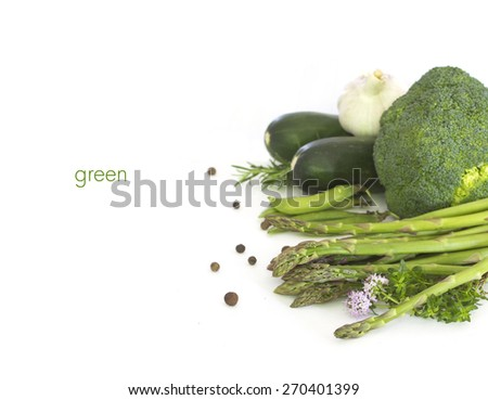 Fresh green vegetables  on white - stock photo