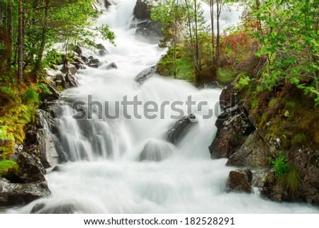Fresh green Waterfall in Spring and Summer with Trees beside the Water