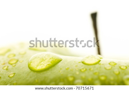 fresh green wet apple, granny smith  macro shot