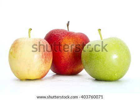 Fresh Green, Yellow and Red Apples Isolated on White Background - stock photo