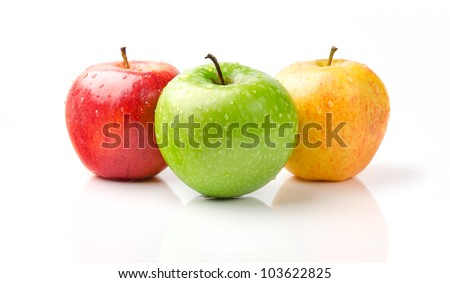 Fresh Green, Yellow and Red Apples with Dewdrops Isolated on White Background - stock photo
