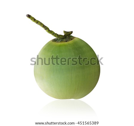 Fresh green young coconut isolated on white background. Saved with clipping path - stock photo