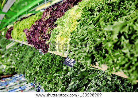Fresh greens in greengrocery - stock photo