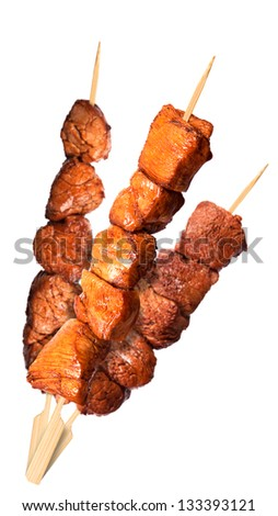 fresh grilled meat dishes set isolated on a white background - stock photo