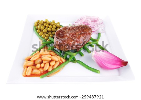 fresh grilled meat medalion on green beans with vegetables - stock photo