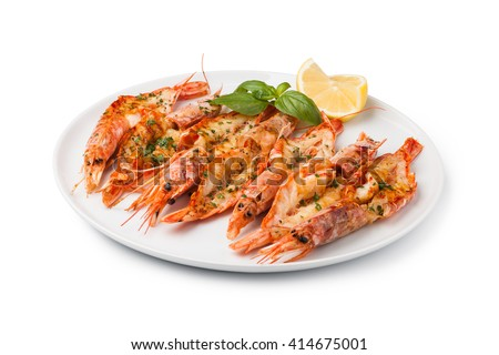 fresh grilled shrimps served on a plate