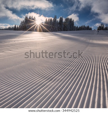 fresh groomed skiing slope in Flack Forest, Germany - stock photo