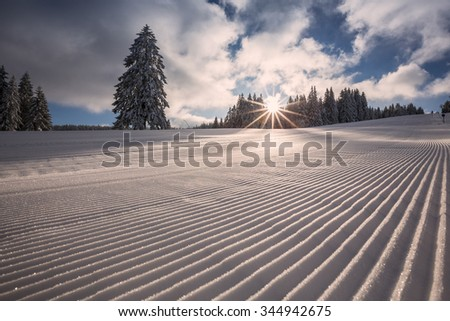fresh groomed skiing slope in Flack Forest, Germany
