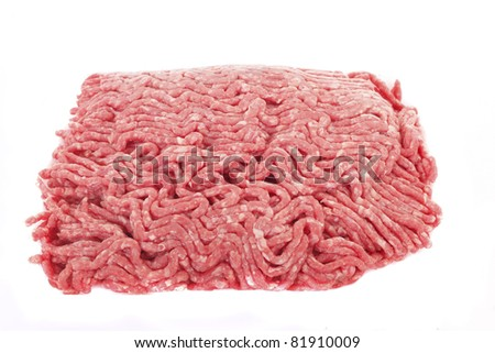 Fresh ground beef isolated on a white background