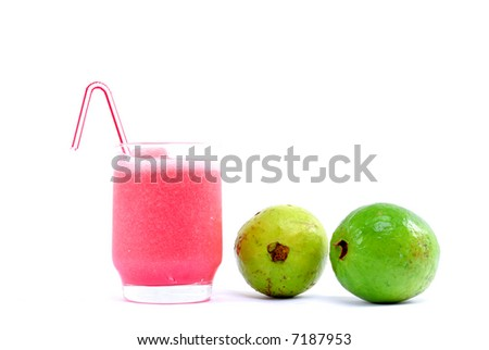 Fresh Guava Drink with natural fruit over white background . - stock photo