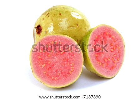 Fresh Guava fruit over white background .