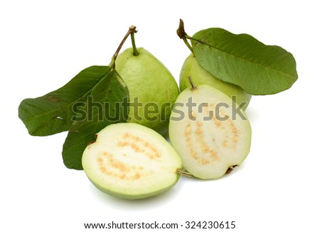 Fresh guava fruit with slice on white background