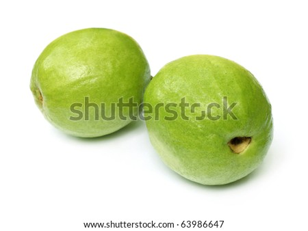 Fresh guava isolated over white background - stock photo