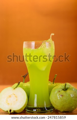 fresh guava juice and split - stock photo