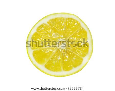 Fresh Half Lemon isolated over white. - stock photo