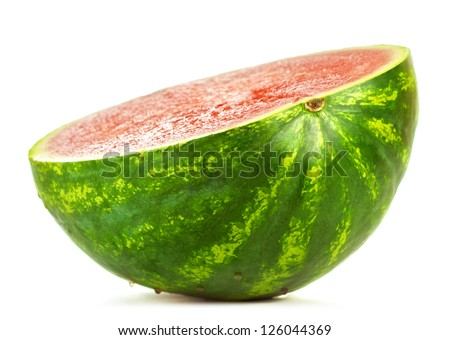 fresh half of watermelon isolated on white - stock photo