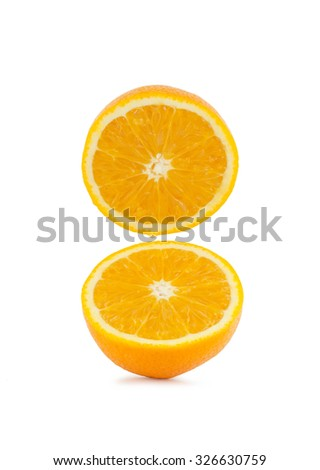 Fresh half orange on white background, Navel Orange - stock photo