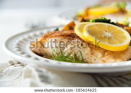 Fresh Halibut Grilled and Served with Vegetables - stock photo