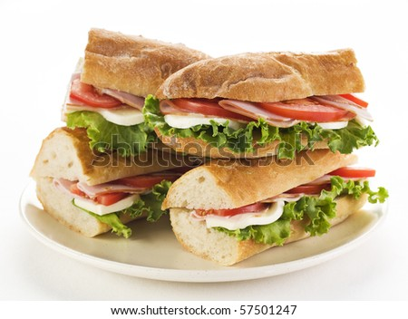 Fresh ham and cheese sandwich with salad close up - stock photo