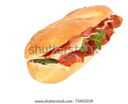 Fresh ham & cheese salad French baguette isolated - stock photo