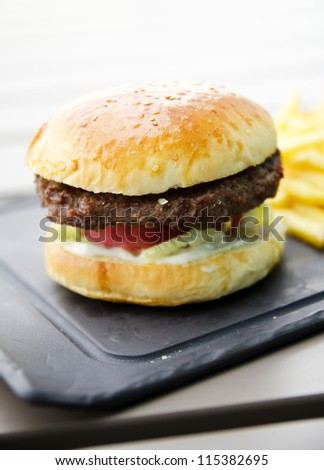 fresh hamburger - stock photo