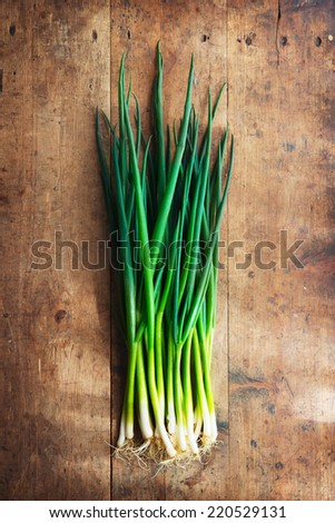 Fresh harvested bundle of scallions on a old grungy table.  - stock photo