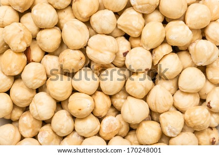 Fresh Hazelnuts Close Up Details - stock photo