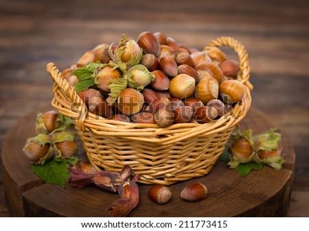 Fresh hazelnuts on the table - stock photo