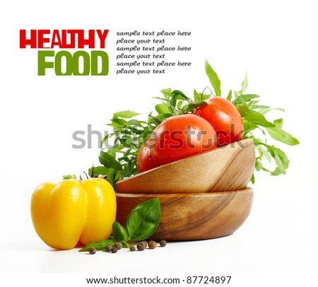 Fresh healthy Food isolated on white - stock photo
