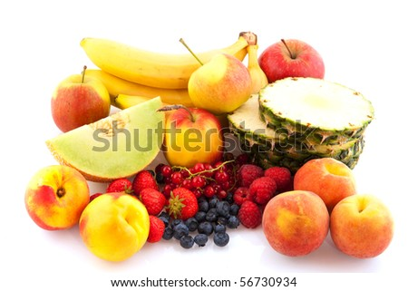 fresh healthy fruit assortment isolated over white
