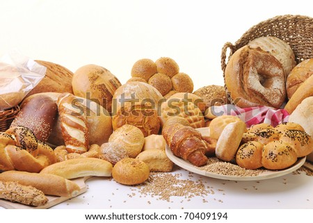 fresh healthy natural  bread food group in studio on table - stock photo