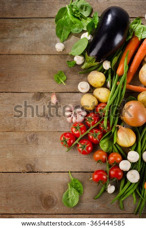 Fresh healthy organic vegetables. Food background. View from above - stock photo
