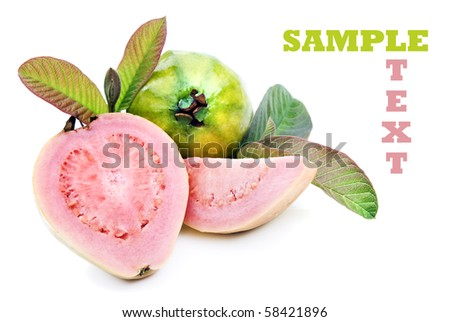 Fresh healthy pink guava fruit with leaves on a pure white background with space for text - stock photo