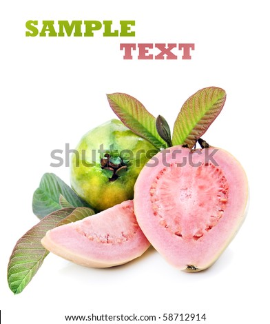 Fresh healthy pink quava fruit with leaves on a pure white background with space for text - stock photo