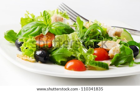 Fresh healthy salad with chicken - stock photo